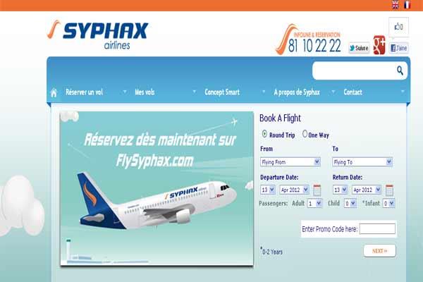 Syphax airlines lance son syst me de r servation en ligne for Meilleur site reservation sejour