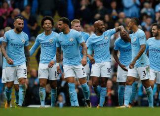 La joie des joueurs de Manchester City