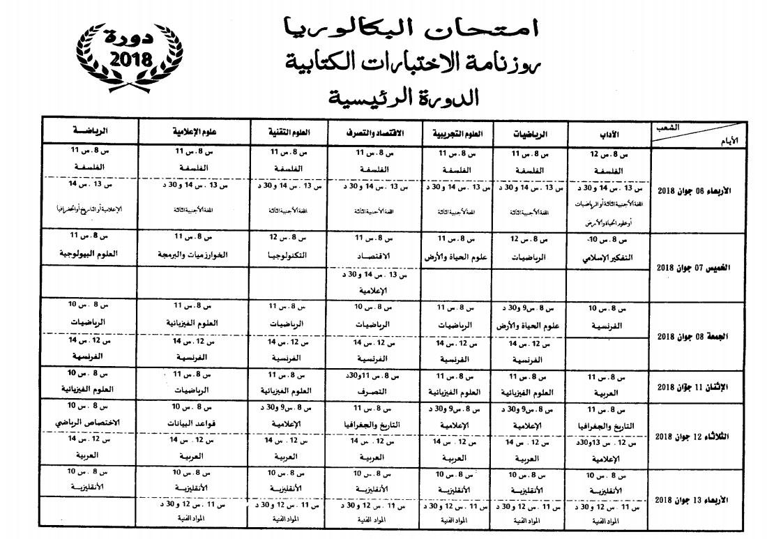 Calendrier Epreuve Bac 2019.Tunisie Calendrier Des Examens Du Bac Session Principale